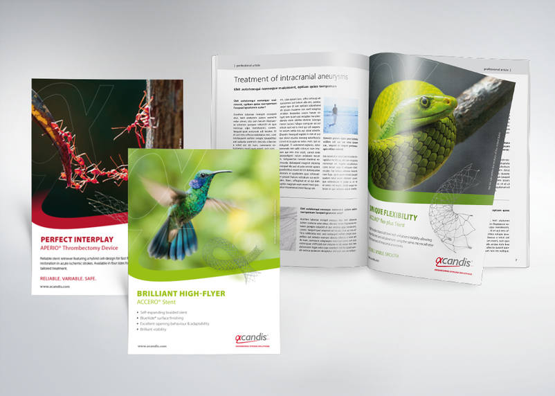 Advertisements in trade magazine about stents for stent manufacturer ACANDIS (Pforzheim near Stuttgart) from 3We communication & marketing gmbh