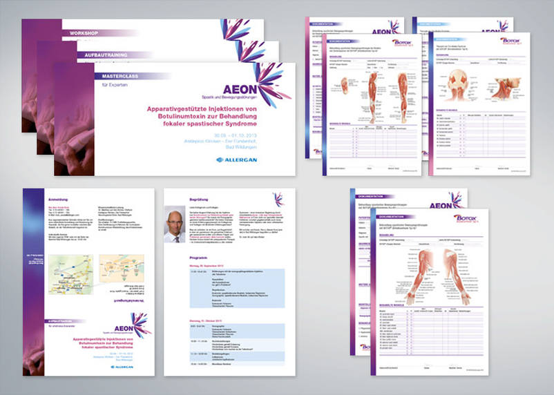 The folders, information sheets and product cards for Allergan AEON designed by the design department at 3We communication gmbh in Bruchsal, Germany.