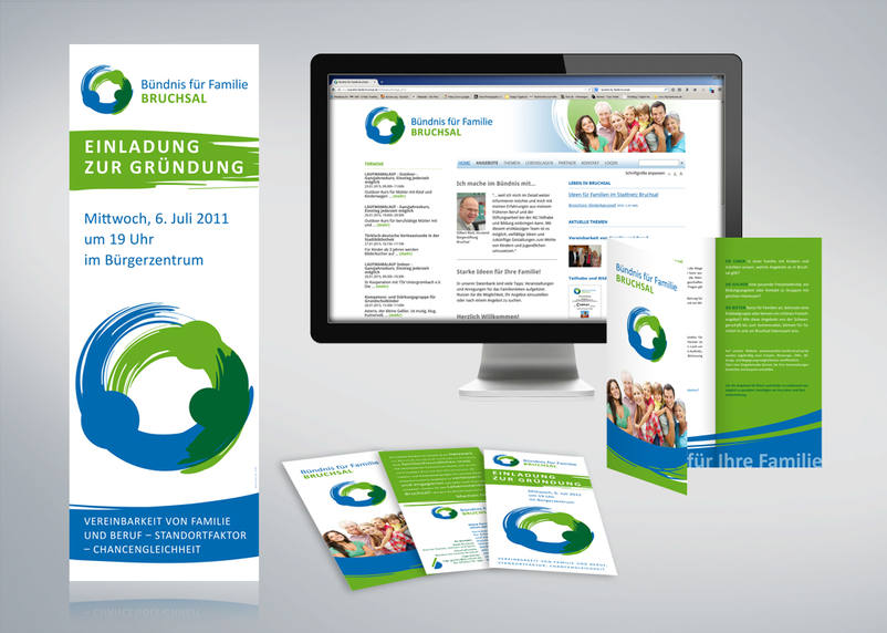Logo, Rollup, Flyer and Websitegestaltung for alliance for family Bruchsal as Charity project of the 3We communication & marketing gmbh