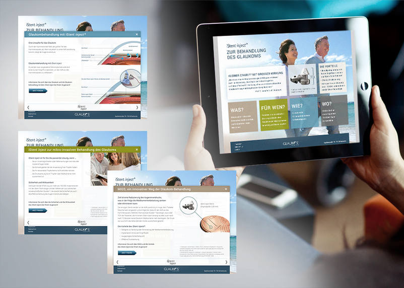 Glaukos presents with the product website for iStent new technologies in the area of medical technology – created by 3We communcation & marketing gmbh and optimised for tablet users.