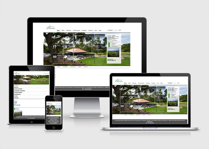 The website of Golfclub Bruchsal by 3We with embedded Albatro System offers for mobile users a mobile-friend website with information around the topic Golf even on the go.
