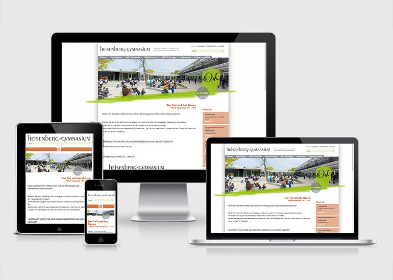 The portal website of Heisenberg Gymnasium Bruchsal, Ettlingen and Karlsruhe offers for students, teachers and parents with login areas, very current blog and news entries and a responsive and adaptive programming style by 3We from Bruchsal a excellent communication tool.