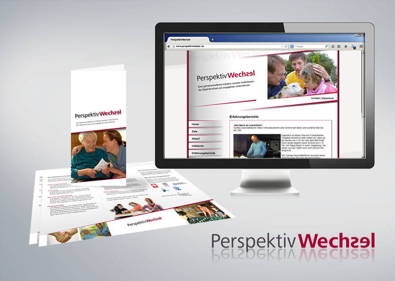 For the charity project Perspektivwechsel 3We from Bruchsal created the website and print flyer.