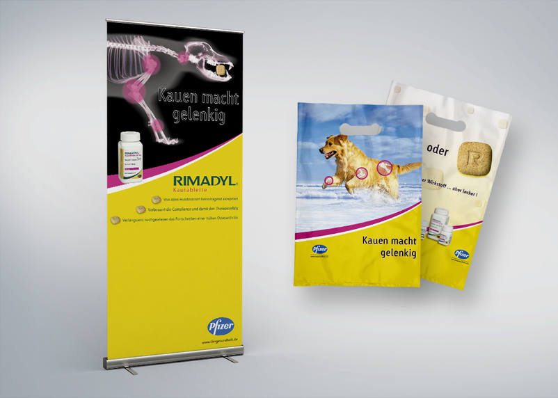Animal health writes the 3We communication & marketing GmbH from Karlsruhe with these roll Ups, bags and further marketing materials for Pfizer animal health in uppercase.