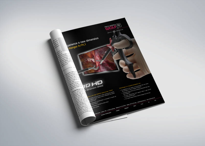 Advertisements for magazines designed by 3We in the medical field for Richard Wolf and the new surgical procedures.