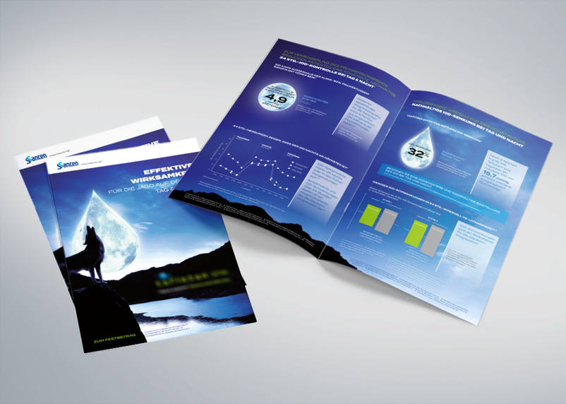 Folder, print products and brochures for Santen in dark design let everyone howl at the moon - design and conception by 3We at Bruchsal