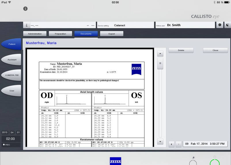 The iPad App ZEISS Callisto Eye developed by 3We close to Bruchsal showing complex technical documents for surgents of the ophthalmologic area.