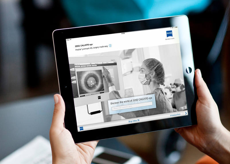 Here you can see the ZEISS Callisto Eye App on an iPad created by the full service media agency 3We communcation & marketing GmbH from Bruchsal.