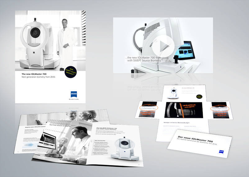 Carl Zeiss Meditec IOLMaster 700 Launch Campaign with video production, folder, flyer and marketing materials by 3We communication & marketing gmbh